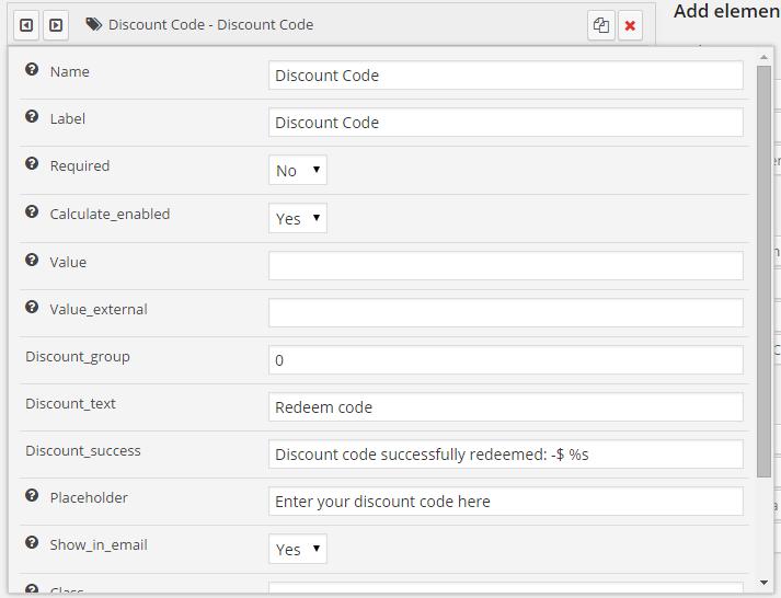 Discount code element