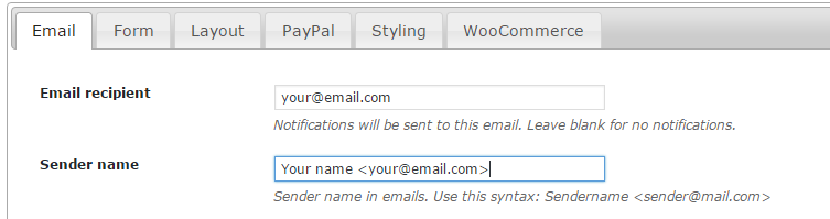 Sender name